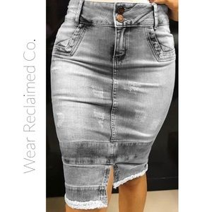 Distressed Faded Stretch Denim Jean Skirt